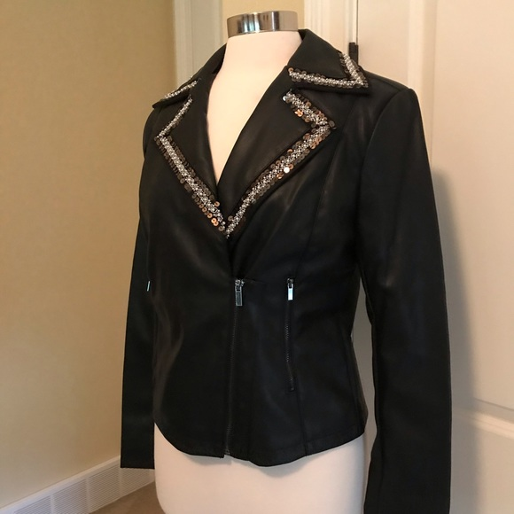 bagatelle Jackets & Blazers - Buttery soft beaded Sequin detail moto Jacket M